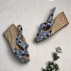 Chinese Laundry Blue & White Wedge Sandals